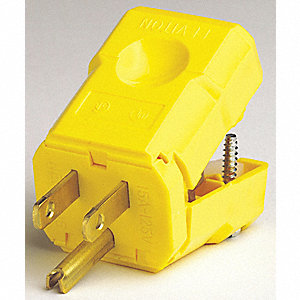 PLUG NYLON YELLOW 125V 15AMP