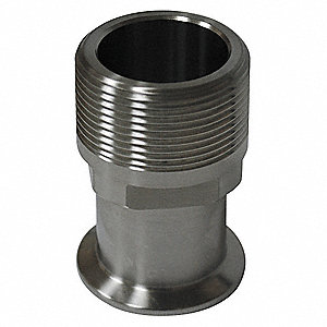 "T304 Stainless Steel Male Adapter, Clamp x MNPT Connection Type, 3"" Tube Size"