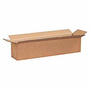 "Shipping Carton, Kraft, Inside Width 4"", Inside Length 18"", Inside Depth 4"", 65 lb., 1 EA"