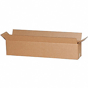 "Shipping Carton, Kraft, Inside Width 12"", Inside Length 24"", Inside Depth 4"", 65 lb., 1 EA"