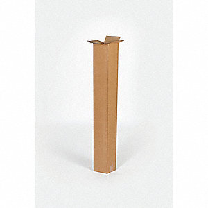 "Shipping Carton, Kraft, Inside Width 8"", Inside Length 8"", Inside Depth 17"", 65 lb., 1 EA"