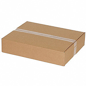 "Shipping Carton, Kraft, Inside Width 12"", Inside Length 12"", Inside Depth 3"", 65 lb., 1 EA"