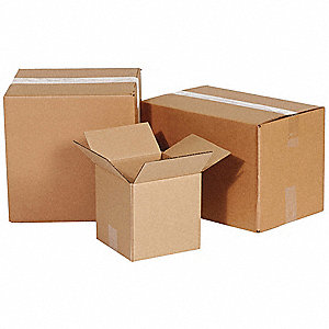 "Shipping Carton, Kraft, Inside Width 8"", Inside Length 10"", Inside Depth 10"", 65 lb., 1 EA"