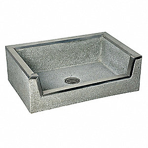 36 in x 24 in x 12 in Black/White Mop Sink with Drop Front, 10 in Bowl Depth, Terrazzo with Stainles