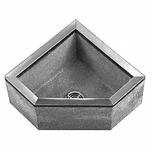 24 in x 24 in x 12 in Black/White Corner Mop Sink, 10 in Bowl Depth, Terrazzo with Stainless Steel C