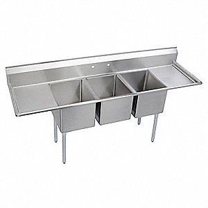 Scullery Sink,Without Faucet,81 In. L