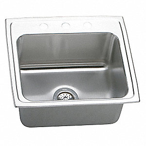 "22"" x 19-1/2"" x 10-1/8"" Drop-In Sink with Faucet Ledge with 18"" x 14"" Bowl Size"