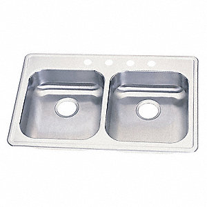 "33"" x 21-1/4"" x 5-5/8"" Drop-In Sink with 14"" x 15-3/4"" Bowl Size"
