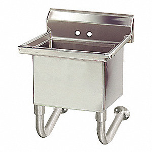 "Wall-Mount Utility Sink, 1 Bowl,  Stainless, 27""L x 21-1/2""W x 31-1/4""H"