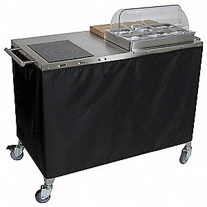 Chef Cart,Mobile,w/ Range and Warmer