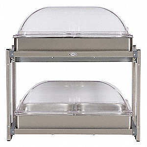 Buffet Server,w/Rolltop Lids,Multi-Level