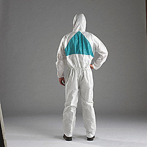 COVERALL HOODED WHITE/GRN SIZE M