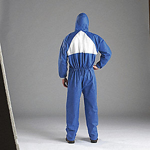 COVERALL HOODED BLUE/WHITE SIZE 4XL