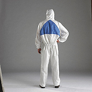 COVERALL HOODED WHITE/BLUE SIZE L