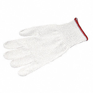 Uncoated Cut Resistant Glove, ANSI/ISEA Cut Level 4, Dyneema® Lining, White, M, EA 1