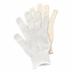 Stainless Steel Mesh Cut Resistant Glove, ANSI/ISEA Cut Level 4, Dyneema® Lining, White, L, EA 1