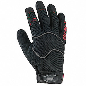 Leather Mechanics Gloves, Amara Synthetic Leather Palm Material, Black, 2XL, PR 1