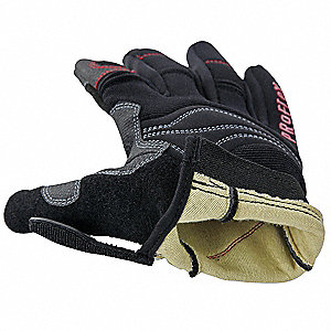 PVC Cut Resistant Gloves, ANSI/ISEA Cut Level 3, Kevlar® Lining, Black, L, PR 1