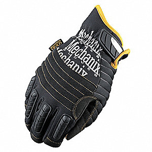 Cold Protection Gloves, Fleece/Thinsulate Lining, Shirred Cuff, Black/Gray, 2XL, PR 1