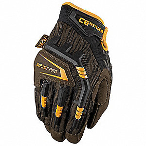 Leather Mechanics Gloves, Synthetic Leather Palm Material, Black/Moss, L, PR 1