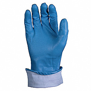 Nitrile Chemical Resistant Gloves, 11 mil Thickness, Unlined Lining, Size S, Blue, PR 1