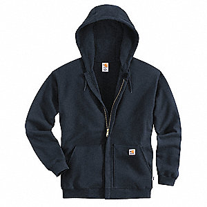 "Navy Flame-Resistant Hooded Sweatshirt, Size: XL, Fits Chest Size: 46"" to 48"", 33.6 cal/cm2 ATPV Rat"