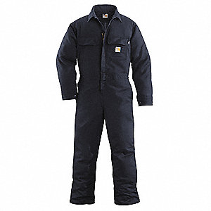 Twill Blend-88% Cotton/12% High Tenacity Nylon, Flame-Resistant Coverall, Size: XL