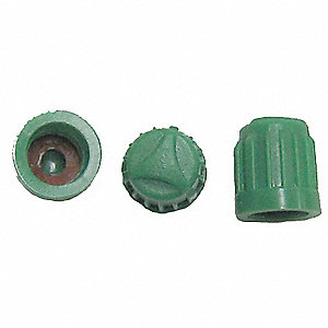 PLASTIC DOME CAP, GREEN, BOX 100