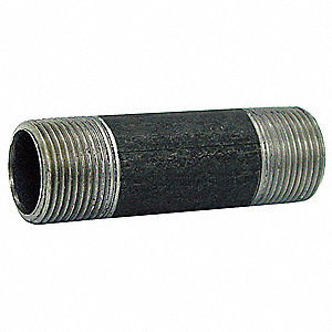 "1/8"" Black Steel Nipple, 12"" Overall Pipe Length, Threaded on Both Ends, Welded, Pipe Schedule 40"