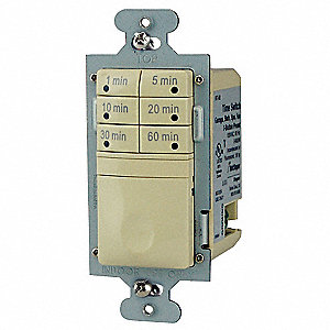 120VAC Electronic Wall Switch Timer, Max. On/Off Cycles:1, Ivory