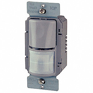 Wall Switch Box Occupancy Sensor, 1050 sq. ft. Passive Infrared, Gray