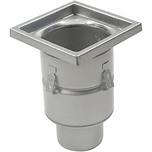 "Square 304 Stainless Steel Floor Drain With 8"" Square Top"
