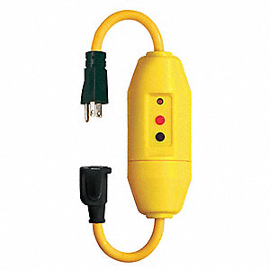Line Cord GFCI, 125VAC Voltage Rating, NEMA Plug Configuration: 5-15P, Number of Poles: 2