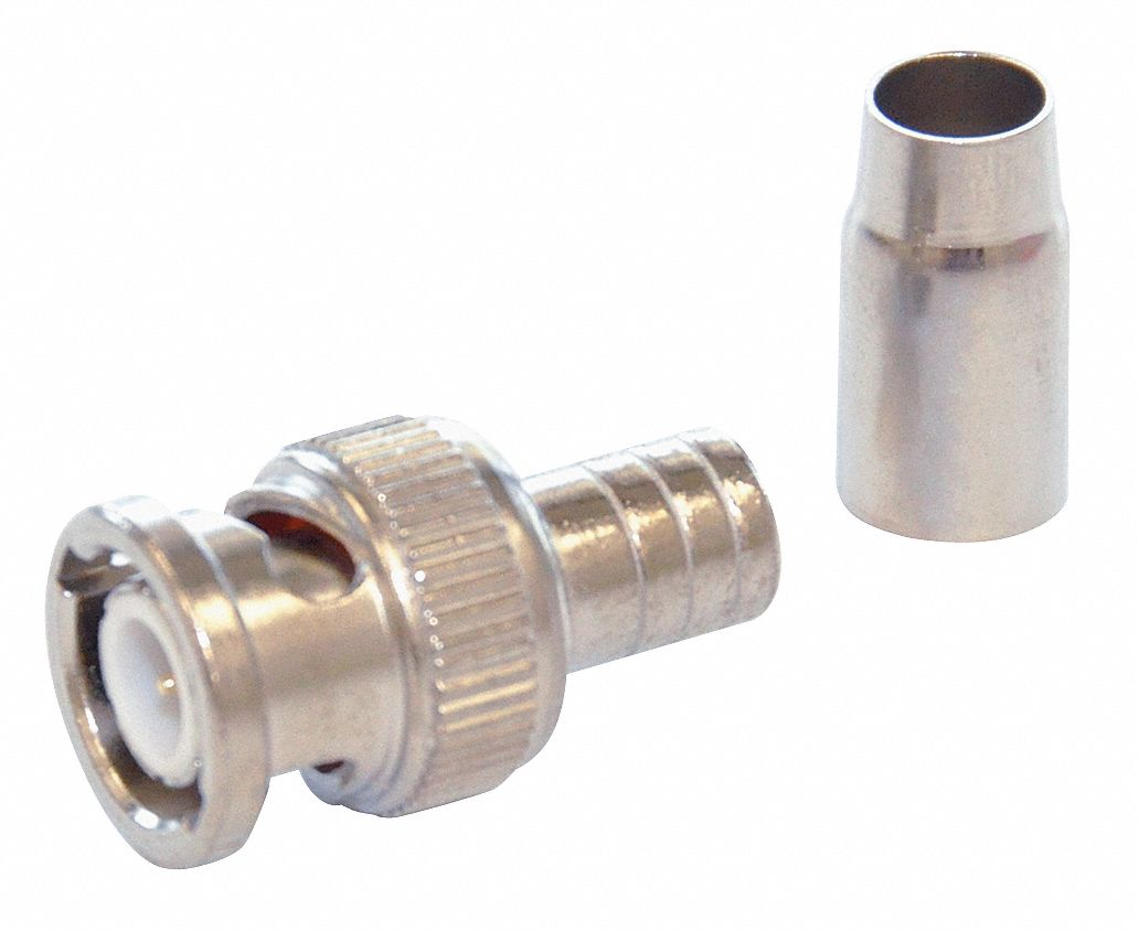 Coaxial Connector,  BNC Male,  RG-58,  Silver,  0 to 4 GHz,  PK 10