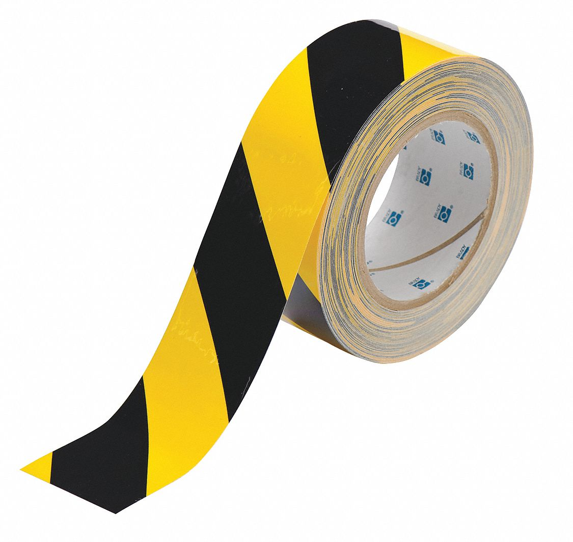 Floor Marking Tape, Striped, Continuous Roll, 2 in Width, 1 EA