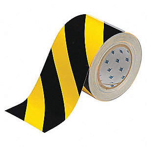 "Floor Marking Tape, Striped, Continuous Roll, 4"" Width, 1 EA"