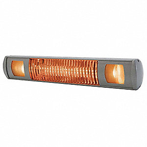 Electric Infrared Heater and Light, Indoor/Outdoor, Wall/Ceiling/Suspended, Voltage 240, Watts 2000