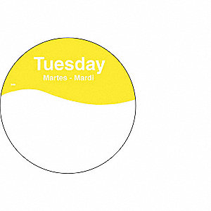 "Removable Day Label, Paper, Circle, Width 3"", Height 3"", 500 PK"