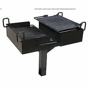 Double Cantilever Powder Coated Steel Pedestal Grill