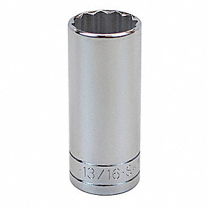 "13/16"" Alloy Steel Socket with 3/8"" Drive Size and Chrome Finish"