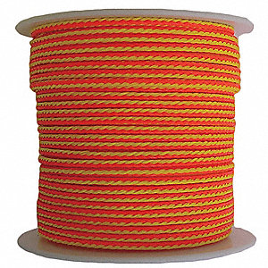 "Polyethylene Arborist Throw Line, 1/8"" Rope Dia., 1000 ft. Length, Neon Orange/Yellow"