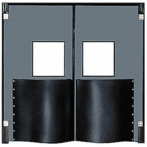 Polyethylene Swinging Door, Metallic Gray; Number of Doors: 2, 8 ft.W x 9 ft.H