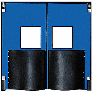 Polyethylene Swinging Door, Royal Blue; Number of Doors: 2, 8 ft.W x 9 ft.H