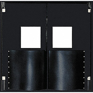 Polyethylene Swinging Door, Black&#x3b; Number of Doors: 2, 8 ft.W x 8 ft.H