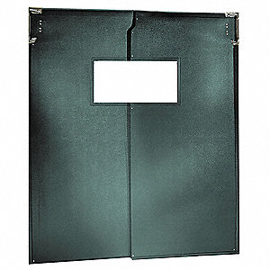 PVC Swinging Door, Forest Green; Number of Doors: 2, 6 ft.W x 8 ft.H