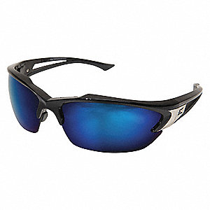 Khor Scratch-Resistant Polarized Safety Eyewear, Aqua Precision Blue Mirror Lens Color