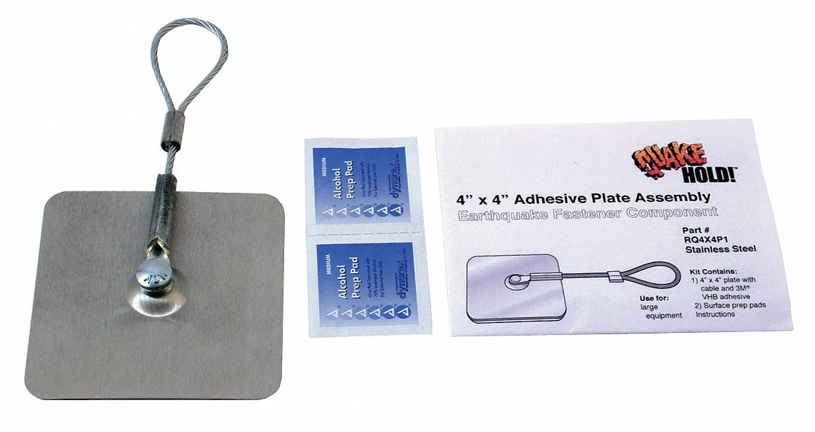 QUAKEHOLD! Adhesive Plate Assembly, 4x4 In, Silver - 12C163|RQ 4X4P