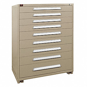 "Stationary Full Height Modular Drawer Cabinet, 9 Drawers, 44-1/2""W x 28-1/4""D x 59-1/4""H Putty"