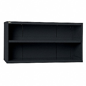 "Base Cabinet, Open Face Cabinet Doors, 60""W x 27-3/4""D x 31""H, 2 Shelves, Black"