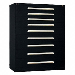 "Stationary Full Height Modular Drawer Cabinet, 9 Drawers, 45""W x 27-3/4""D x 59""H Black"